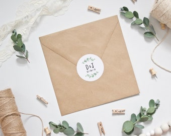 Personalised Eucalyptus Wedding Envelope Stickers
