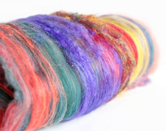 HOLI 2.2 oz  Wool - Merino- Art Batt // Wool Art Batt for spinning or felting