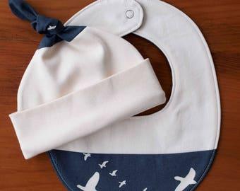 Navy Blue and Cream Baby Hat and Bib; Birds in Flight Newborn Baby Cap, Drool Bib Gift Set; Organic Cotton Baby Gift; Teething Bib, Beanie