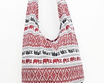 Women bag Handbags Cotton bag Elephant bag Hippie Hobo Boho bag Shoulder bag Sling bag Messenger bag Tote Crossbody bag Purse White Red