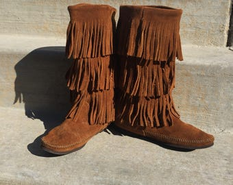 Moccasin Boots size 6 ladies Boho Festival Native American