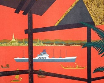 Vintage Cruises To Bangkok Thailand Tourism Poster A3 Print
