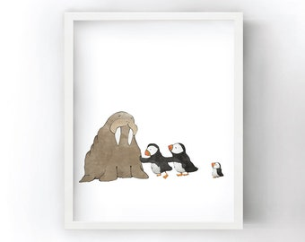 Puffins and Walrus Art Print - Trying to Push a Walrus