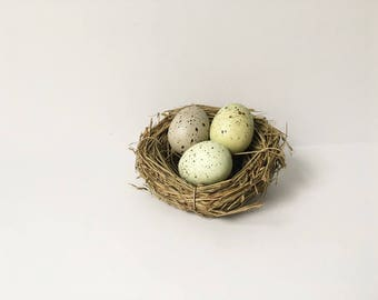 Birds Nest with eggs Easter Decor Twig Nest Bird Nest speckled Eggs