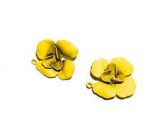 Enamel Flower Charm w/ring, Enamel Charm, Rose, Flower, 20x16
