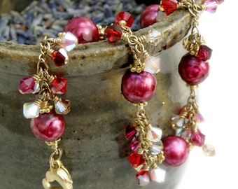 Artisan Red Pearl Bracelet, Gold Filled, Ruby Freshwater, Chain Link Swarovski Crystal Cluster, Ready to Ship Jewelry Christmas Gift