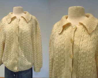 Lambswool Angora Cardigan Sweater 1960's, Silk-Lined from I. Magnin & Co. Size M-L