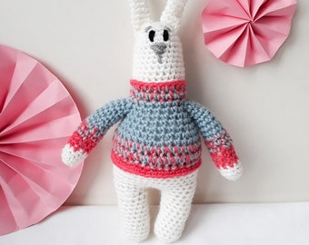 White bunny rabbit stuffed toy plush toy soft toy, crochet gift for boy, gift for girl