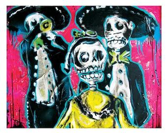 Dia de Los Muertos Street Party -18 x 12 High Quality  Pop Art Print