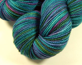 Hand Dyed Yarn, Sock Weight Superwash Merino Wool Silk Yarn, AEGEAN MULTI, Indie Dyed Fingering Knitting Yarn, Turquoise Blue Green DIY Gift