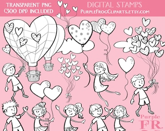 El amor está en los cepillos de aire - sistema de sello Digital. 20 imágenes, 300 dpi. JPEG, png, abr archivos. Descarga inmediata.