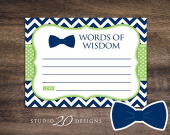 Instant Download Bow Tie Advice Cards, Printable Green Navy Chevron Words of Wisdom, Little Man Baby Shower Games, Advice for Mom To Be 79A