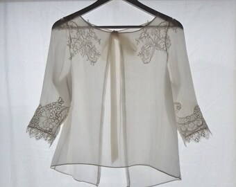 Clear top for chiffon wedding dress of silk and lace, wedding, 3/4 sleeves