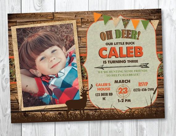Hunting Camo Camouflage Birthday Invitation - Oh Deer Birthday Invitation