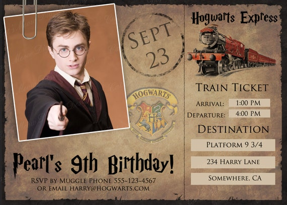 Très Hogwarts Harry Potter Printable Postcard Invitation NU49