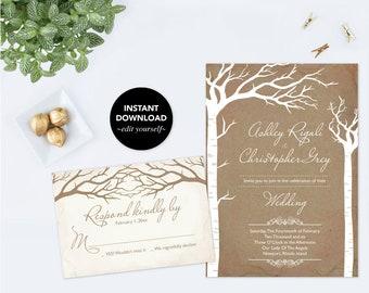 Wedding Invitation Template Download, Rustic Invitation Template, Wedding Invite, Wedding Invitation Template, Instant Download, Printable