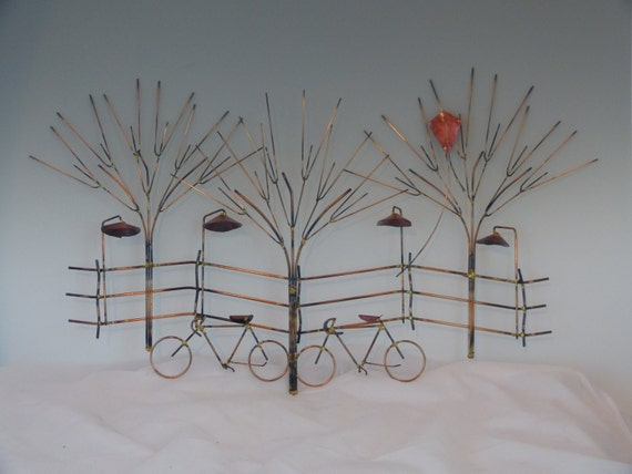 & BIKES AND TREES metal sculpture:bike wall decormetal