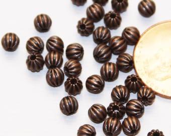100 pcs antique copper round Corrugated beads 4mm, antique copper spacer beads, antique copper loose beads