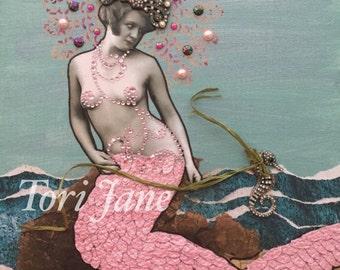 Mermaid tail, little mermaid, Mermaid Art, Mermaid Decor, Mermaid Painting, Mermaid Gifts, Mermaid Wall Art, Mixed Media, PRINT