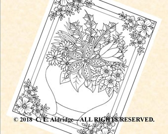 Fabulous Flowers 2 - A Vase of Fantasy Flowers, Coloring Page, Original Unique Art, Adult Coloring, Printable - Instant Download PDF
