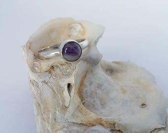 Amethyst Ring, Silver Ring, Dogtooth Amethyst, Amethyst Jewelry, Silver Jewelry, Purple Stone, Purple Jewelry, Size 6 Ring, Handcrafted Ring