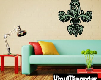 Fleur Delis Wall Decal - Wall Fabric - Vinyl Decal - Removable and Reusable - FleurDeLisUScolor007ET