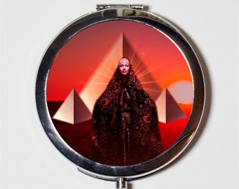 Pyramid Woman Compact Mirror - Psychedelic Trippy Occult Egyptian Egypt Visionary Art - Make Up Pocket Mirror for Cosmetics