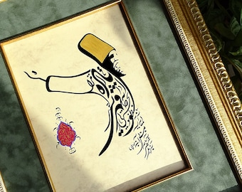 """Rumi Painting """"Mirror in the mirror"""" Persian Calligraphy Whirling Dervish Mevlana Vintage Style Painting, Islamic Home Decor, Sufi Gifts"""