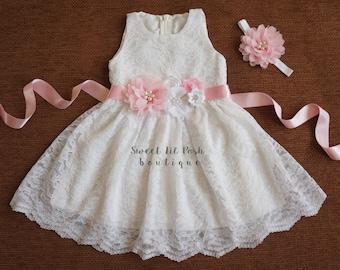 White Lace Girl Dress, Flower Girl Dress, White Wedding, White Wedding Dress, Bridesmaid Dress, Couture Style,Country Flower Girl