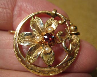 Romantic Antique Victorian 18 Carat Gold Ruby Pearl Pendant 3.3 Grams.