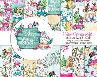 Christmas Digital Paper Pack, Christmas Scrapbook, Christmas Backgrounds, Christmas Card, Winter Digital Papers, Winter Backgrounds, 8x8