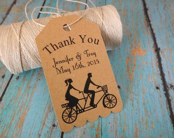 Wedding Thank You Tags Wedding Favor Tags Wedding Gift Tags Party Favors Engagement Tags Tandem Bicycle Hang Tags Personalized Wedding Tags