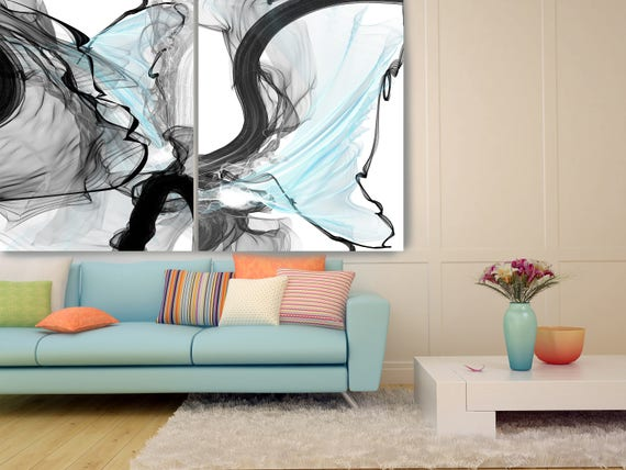"Ideas Exchange. Blue Grey Black 2 piece Huge Abstract New Media Canvas Art Print 100"" x 80""  by Irena Orlov"