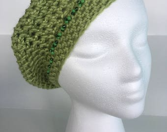 Beaded Crochet Knit Hat, Fall/Winter Fashion Hats