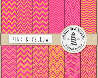 THINK PINK | Chevron Digital Paper Pack | Scrapbook Paper | Printable Backgrounds | 12 JPG, 300dpi Files | BUY5FOR8