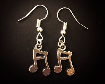 Silver Eighth Note Music Note Dangle Hook Earrings