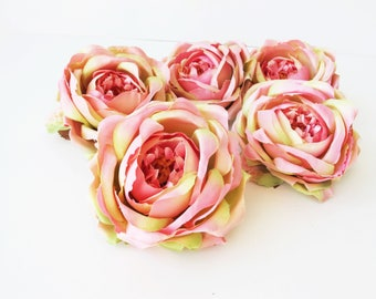 """11 English Roses Heads Pink Green Artificial Silk Flowers Rose 4"""" Floral Hair Accessories Flower Supplies Faux Fake DIY Wedding"""