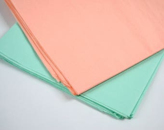 Tissue Paper, Mint and Peach, Party Decorations, Mint Green, Peach, Wedding Decor, Birthday, Baby Shower, Wrapping Paper, 48 sheets
