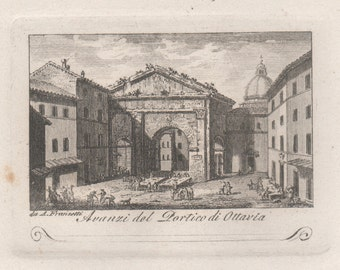 Portico of Octavia, Rome. Original early 19th century Italian engraving