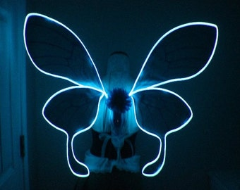 Custom Dreamy Rave Moth Inspired Wings with Neon Blue LED light wire