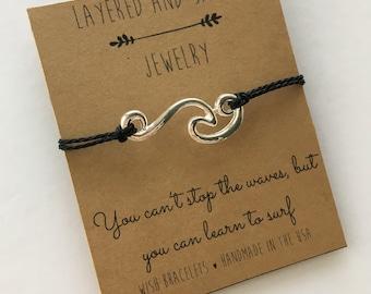Wave Bracelet, Ocean Bracelet, Wave Charm Bracelet, Wave Cord Bracelet, Beach Bracelet, Wave Jewelry, Wish Bracelet, Wave Anklet