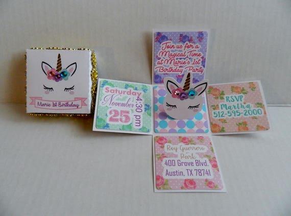Unicorn invitations pop up invitations unicorn 1st birthday stopboris Image collections