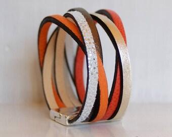 Orange leather Cuff Bracelet