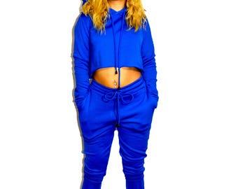 Blue Fleece Cropped Hoodie Top