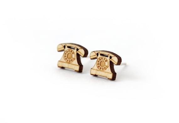 Vintage phone stud earrings - tiny post earrings - mini jewelry - graphic jewellery - lasercut wood - hypoallergenic surgical steel