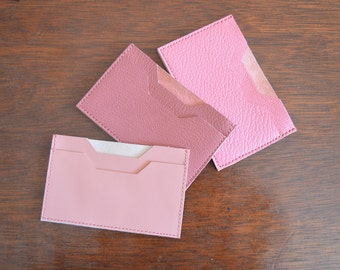 Leather Card Holder. Leather Card Case. Leather Card Wallet. Leather Wallet. Credit Card Case. Pink Leather Card Case. Pink Wallet