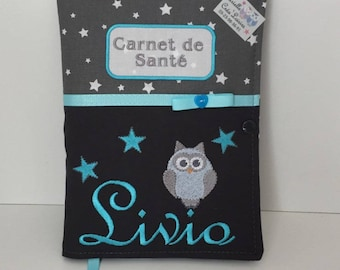 Health book, personalized, name embroidery owl, padded, birth gift, gray turquoise
