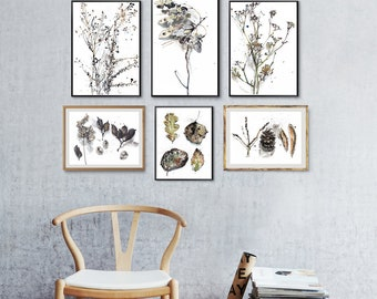 Botanical Set of 6 Prints, Gallery wall art, Living Room Wall Art Set of botanical watercolors, beige wall art, abstract herb poster set