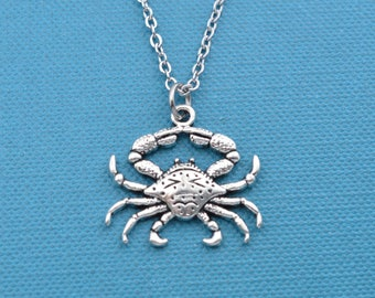 """Crab charm in silver toned metal on an 18"""" silver cable chain.  Crab necklace.  Crab pendant.  Silver crab necklace."""