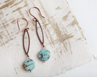 Aqua Copper, Aqua, Aqua Copper Earrings, Boho Style, Bohemian, Turquoise, Turquoise Earrings, Turquoise Jewelry, Long Earrings, Copper